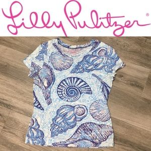 Lilly Pulitzer shirt / top blue shells seashells